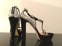Cheryl Cole designer Black&Silver glitter high heel platform peep-toe UK 7/40 100% leather