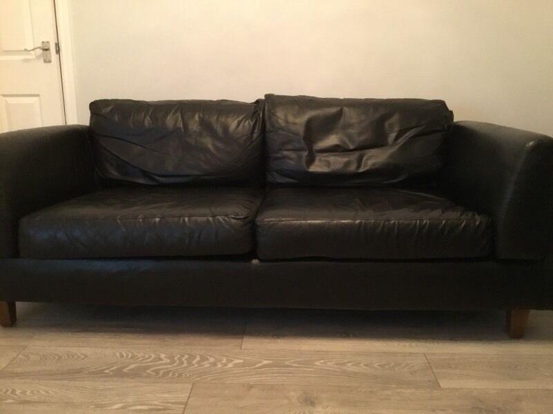 Leather 2-3 seater sofa