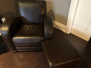 Leather  comfy chair with two ottomans