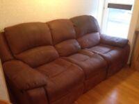 Tan Suede Leather Three and Two seater sofas
