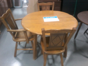 $50 Wooden Table w/ 3 Chairs