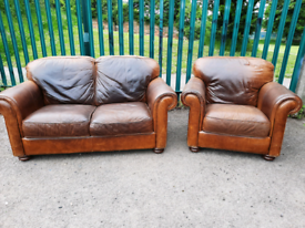 2 seater leather Sofa + armchair (delivery available