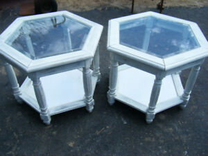 Shabby chic distressed octagon end tables, vintage, solid wood