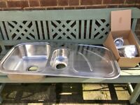 Stainless steel 1.5 bowl sink, unused, with fittings