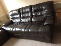 Brown leather 2 &3 seater recliner sofa