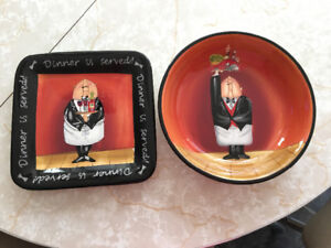Small Serving Plate & Bowl