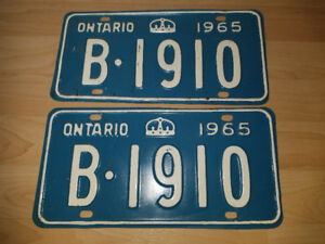 Complete set of 1965 Ontario license plates in great condition!!