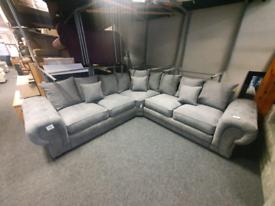 Brand new graphite Milo chesterfield corner group sofa £799
