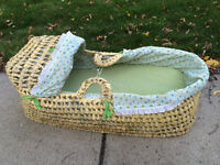 Woven Bassinet with Matching Quilt