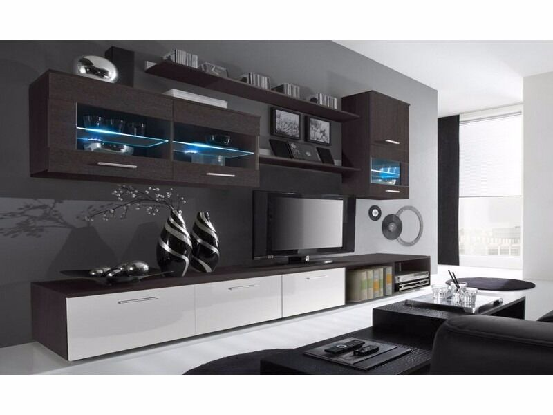 Delta Wenge And White Gloss Living Room Furniture Package Tv Stand Unit