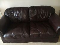 Laura Ashley Brown leather 3 piece suite