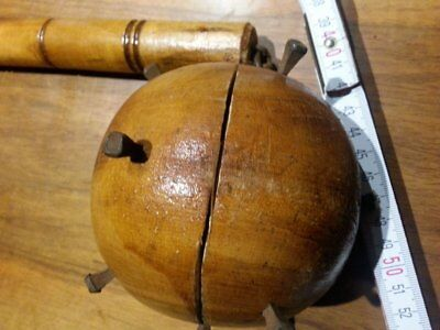 "Vintage medieval weapon german ""fléau d'arme"" morning star wood Danish design"