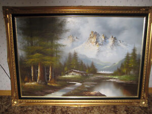 LARGE OIL PAINTING - MOUNTAIN SCENE