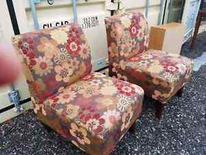 Two accent chairs with flowers, fun print