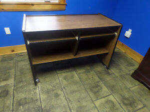 computer desk, dual keyboard shelves, casters, excellent conditi