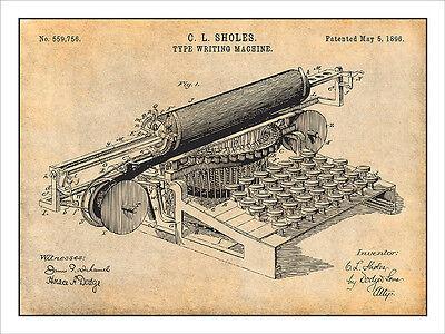 1896 Sholes Type Writing Machine Patent Print Art Drawing Poster 18X24 (Writing Posters)