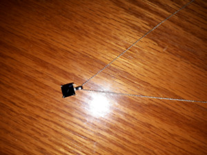 black cubic zirconia pendant and silver chain