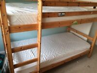 Pine bunk beds without mattresses