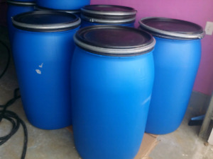 55 gallon plastic shipping barrels 3 for 100$-brampton