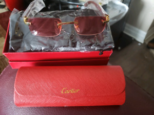 27969485137 CARTIER SUNGLASSES RED WOODEN NEW