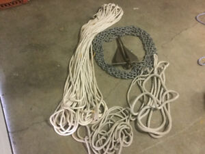 Anchor, chain and  200 ' Anchor Line also 4 Mooring Lines