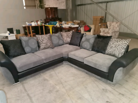 New Large black and grey corner sofa