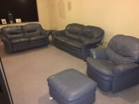 Blue/Grey leather suite up for sale
