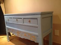 Antique wood table buffet TV stand