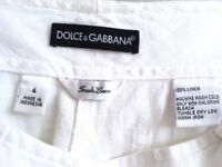 Ladies White Linen Designer Trousers - size 10