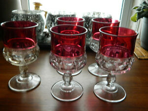 """Set of 5 Kings Crown Ruby Flash Water Wine Goblets 5 3/4"""" Tall"""