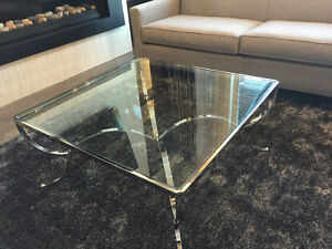 SHOWHOME FURNITURE - CHROME AND GLASS COFFEE AND END TABLE