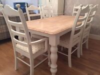 Amazing 6ft Shabby Chic Chunky Farmhouse Oak Table and 6 Chairs Inc Two Carvers