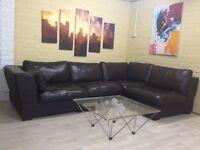 Brown Modular Leather Corner Sofa