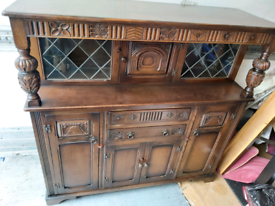 Sideboard / Display Unit - Quality Solid Carved Wood Poles, 2 Glass Do
