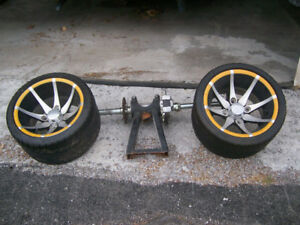 Rear end with wheels for go cart