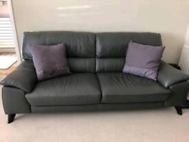 Grey Leather Sofa (DFS Trident Range)