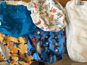 Brand New 4 Non- Disposable Cloth Diapers with 6 Inserts