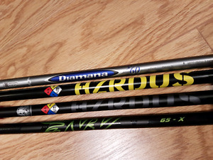 golf driver shafts. 3 out of 4 have taylormade M1 M2 adapter on