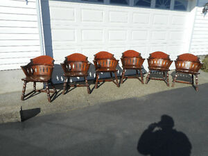 Set of six H Krug Furniture Co. Kitchener Ont. pub style chairs.