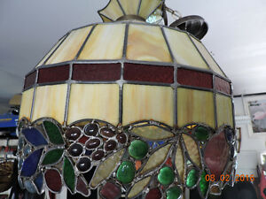 Antique stained leaded glass hanging lamp