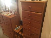 pine effect chest of drawers and a tallboy for hallway, bedroom, kids room