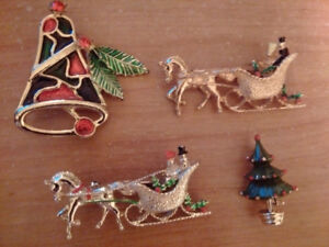 Signed Christmas Pins, Brooches