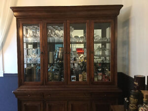 Solid cherry wood lighted Hutch