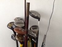 Golf clubs and bag with motorised trolley