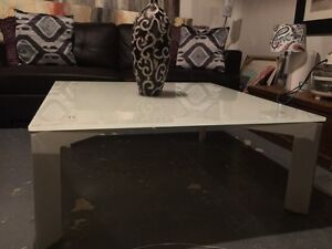 Ultra modern white glass coffee table