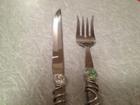 NEW Serving Set Knife+Fork.Colored Stones,Silver Swirled MINT