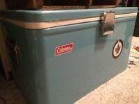 Vintage Coleman Cooler Chrome Beer Opener on sides w /Jets Logo