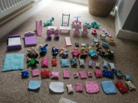 Dolls house - Furniture, figures, pets, rugs, cushions etc