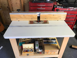 Router table, router, router bits and jigs