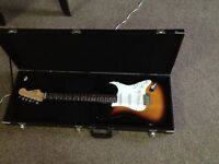 Tabacco Burst Fender Squire and Case
